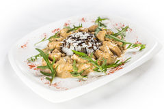 Curry rice with chicken. On white plate Royalty Free Stock Photography