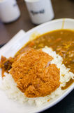 Curry rice with deep fried pork Royalty Free Stock Images