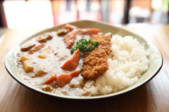 Curry rice with fried pork Royalty Free Stock Image