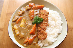 Curry rice with fried pork Royalty Free Stock Photo