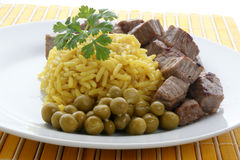 curry rice with pork goulash and pea Royalty Free Stock Photography