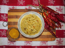 Curry rice and red peppers Royalty Free Stock Photo