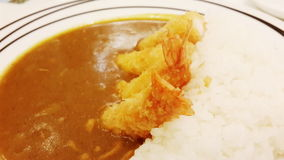 Curry rice and tempura Royalty Free Stock Photo