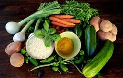 Curry, riso e verdure Fotografia Stock Libera da Diritti