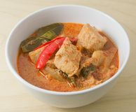 Curry rojo con los ingredientes de la leche y del vegetariano de coco Imagenes de archivo