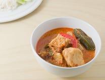 Curry rojo delicioso con los ingredientes de la leche y del vegetariano de coco Fotografía de archivo