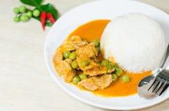 Curry rojo secado del coco del cerdo (Panaeng) foto de archivo libre de regalías