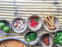 Curry rojo tailandés auténtico más allá de la receta con los ingredientes en cáscaras del coco en la tabla de bambú imagen de archivo