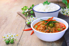 Curry rojo tailandés con leche del cerdo y de coco y x28; panaeng& x29; Imagen de archivo
