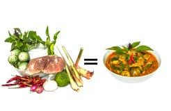 Curry rosso prima e dopo cucinare Immagini Stock Libere da Diritti