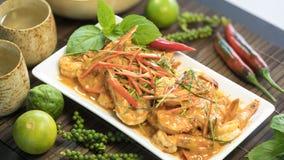 Curry rosso secco Panaeng della noce di cocco della carne di maiale fotografia stock libera da diritti