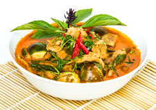 Curry rosso sull'involucro di bambù Immagine Stock Libera da Diritti