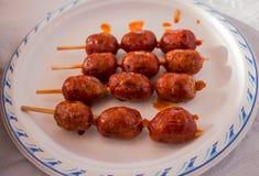 Curry sausage kebab. Stock Photography