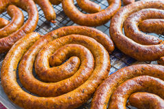 Curry sausage is local foods in Chiangmai,Thailand Royalty Free Stock Photography