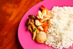 Curry sea food with rice. In Thailand Royalty Free Stock Image