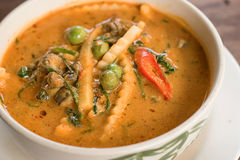 Curry with snail,River Snail Curry Thai Food Stock Photo