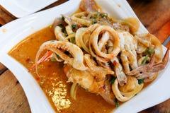 Curry sofrito mariscos mezclados Fotografía de archivo