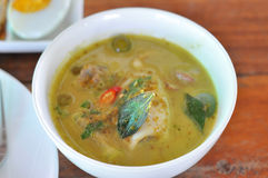 Curry soup with seafood. Thai green curry soup with seafood for healthy Stock Photos