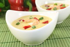 Curry Soup with shrimp Stock Photo