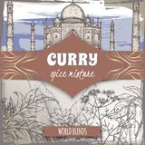 Curry spice mixture template with curry tree, turmeric, coriander, chili pepper and Taj Mahal color sketch. Curry collection. Great for cooking, gardening Royalty Free Stock Photography