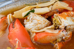 Curry spicy crab with pickled bamboo shoots Stock Images