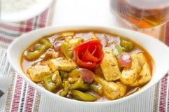 Curry squisito del paneer dei peperoncini rossi Immagini Stock
