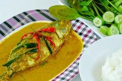 Curry style thai food , chuchi mackerel on dish stock photos