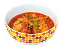 Curry tailandés del camarón con el camarón en cuenco Fotos de archivo libres de regalías