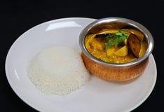 Curry tailandés del pollo con arroz llano del basmathi fotografía de archivo libre de regalías