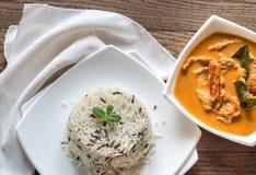 Curry tailandese del panang con la ciotola di zizzania bianca e Fotografia Stock