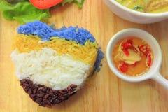 Curry tailandese di verde del pollo con riso fotografia stock libera da diritti