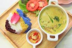 Curry tailandese di verde del pollo con riso immagine stock libera da diritti