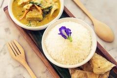 Curry tailandés del verde del pollo con arroz Foto de archivo
