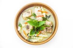 Curry verde con il pollo isolato Immagini Stock