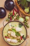 Curry verde del pollo Fotografia Stock