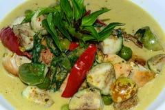 Curry verde del pollo con la berenjena y la hierba Fotos de archivo