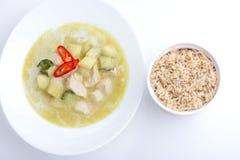 Curry verde del pollo con riso sbramato su bianco Fotografia Stock Libera da Diritti