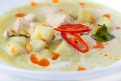 Curry verde del pollo su bianco Immagine Stock Libera da Diritti