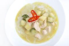 Curry verde del pollo su bianco Fotografie Stock Libere da Diritti