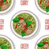 Curry verde senza cuciture royalty illustrazione gratis