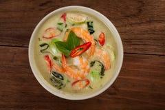 Curry verde tailandés con el camarón imágenes de archivo libres de regalías