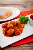 Curry wurst spicy sausage with curry and ketchup Royalty Free Stock Image