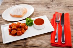 Curry wurst spicy sausage with curry and ketchup Royalty Free Stock Photography