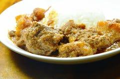 Curry y patata del cerdo con arroz en la placa Fotos de archivo libres de regalías