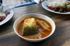 Yellow curry fish in bowl white thai southern style food, khaw khang-ti Thai word, Large pieces of fish soup in a cup is Thai As. Curry Yellow fish in bowl white Royalty Free Stock Images