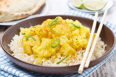 Curry z kalafiorem i ryż Fotografia Stock