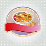 Curryaufkleber Stockbild