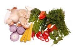 Currybestandteile Kräuter Gewürz und Gemüse Stockbilder