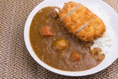 Currych ryż z smażącą wieprzowiną Japońscy karmowi Tonkatsu curry'ego ryż Obrazy Stock