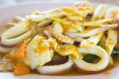 Currykalmar, würziges Lebensmittel Lizenzfreies Stockfoto